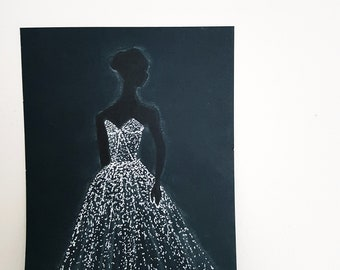 Original drawing of a woman in a glowing white dress
