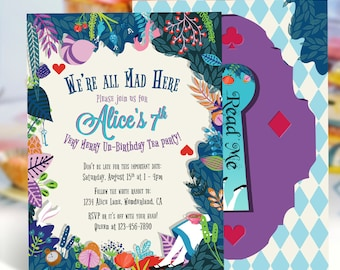 Alice in Wonderland Invitation | Birthday Invitation | Garden Tea Party Invitation | Digital Invitation | Printable Invitation