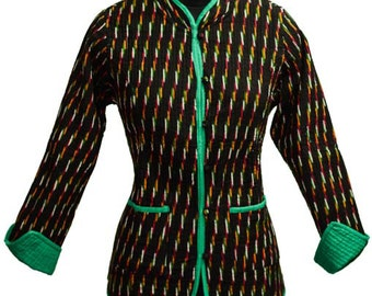 Reversible Green And Black Quilted Ikat Jacket