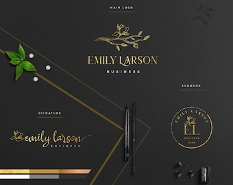 Branding kit,Elegant Modern Luxury Logo,Photography,Gold Foil,initials, Watermark,Signature logo,Magnolia Logo,Floral Logo,Boutique Logo