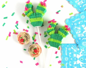 Cactus Pinata Cake Toppers SET OF 3 for Cinco de Mayo Fiesta Decorations-