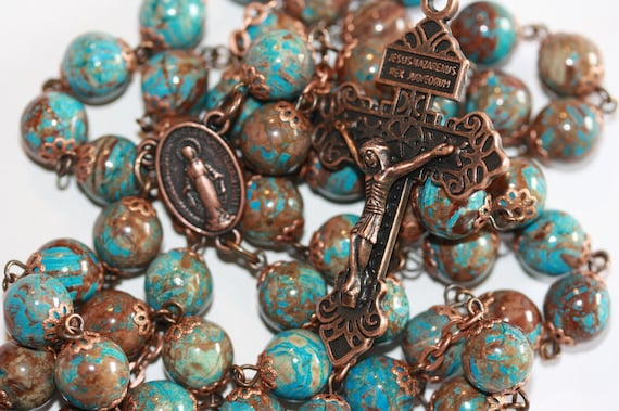 10mm Heaven and Earth Jasper Rosary in Copper with Pardon Crucifix Handmade in Oklahoma