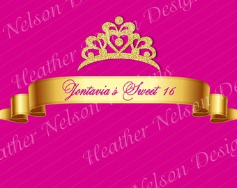 Magenta and Gold Crown Digital Backdrop