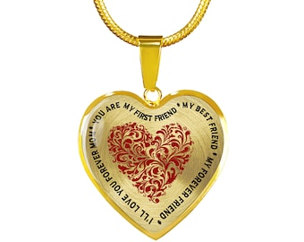 Engravable You Are My First Friend * My First Friend  * I'll Love You Forever Mom - Mother's Day Golden Necklace