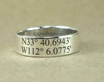 Latitude Longitude Ring, 6 mm Sterling Silver, Location Ring, Coordinates ring, Gps Coordinates ring, Personalized Ring, Coordinates Jewelry