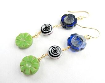 Colorful Boho Flower and Swirl Beaded Dangle Earrings, Cobalt Blue Flower, Bright Green Flower, Black and White Swirly Bead, Spring Floral