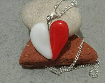 Valentine's day gift.Red and white love necklace.fused glass pendantA great gift for her.pendant Heart necklacesilverchainStatement necklace