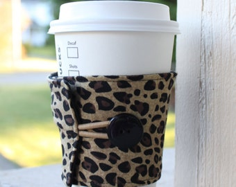 Leopard Coffee Cozy / Fabric Coffee Sleeve - Black and Tan Cheetah - Animal Print Cozy - Reusable Coffee Jacket - Cup Wrap Java Jacket