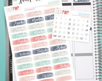 Date Cover Stickers, Date Covers, Date Cover Planner Stickers - DCW001/2