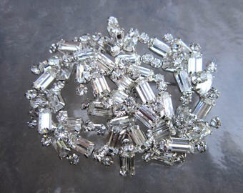 Huge vintage clear sparkly rhinestone brooch - estate jewelry