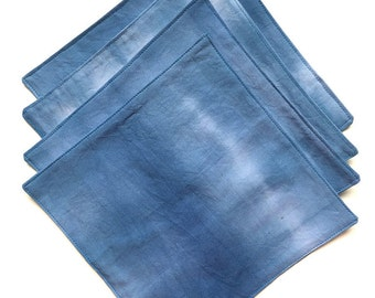 Cloth Cocktail Napkins -Dip Dyed Napkins - Hand Dyed Fabric - Dip Dyed - Blue Napkins - Housewarming Gift - Hostess Gift