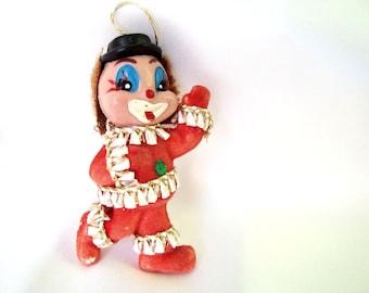 Vintage Plastic Christmas Ornament, Flocked Clown Christmas Ornament
