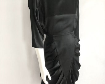Vintage Women's 80's Black Dress, Dolman Sleeve, Knee Length by All That Jazz (S)