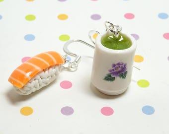 Food Jewelry, Sushi Earrings, Polymer Clay Charms, Food Earrings, Miniature Food Charm, Fake Food Charm, Salmon Sushi and Green Tea Earrings
