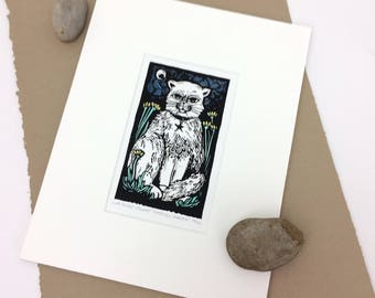 SALE - Gabriels Garden - Cat in Garden - Star - Moon - Animal Art - Linocut Printmaking - Block Print - Wall Art - Black and White - 8x10