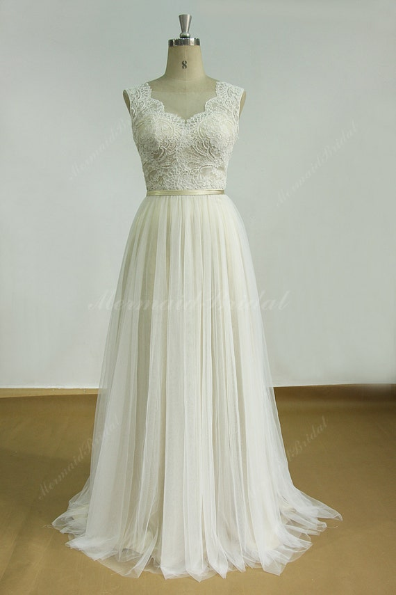 romantic ivory backless tulle lace wedding dress with