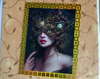 Masquerade ball lady card