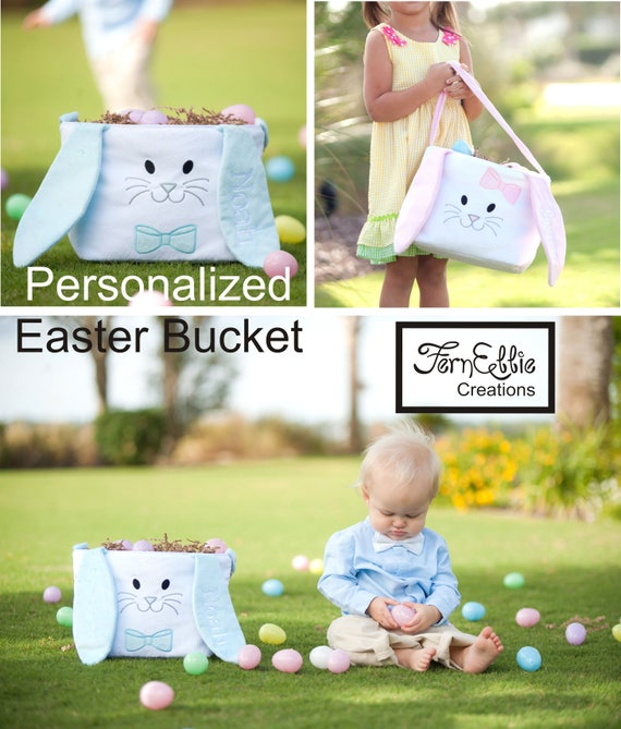 Easter Bucket Bunnny Ears, Hippity Hoppity Easter Bucket, Personalized Easter Basket, Monogrammed Easter Basket