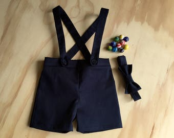 Ring bearer outfit baby boy suspender shorts navy shortalls photo prop special occasion
