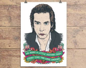 Nick Cave Greeting Card - The Ship Song Lyric - Valentine's - Birthday - Anniversary