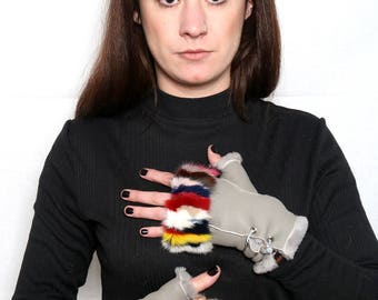 Sheepskin Gloves Fingerless With colorful mink In One Size