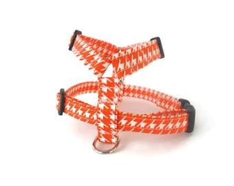 Orange houndstooth dog harness, orange harness, houndstooth harness, adjustable step in pet harness, orange and white slip on harness