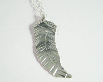 Feather pendant, hand hammered texture, sterling silver hand cut, 18in sterling silver chain