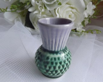 Scottish Thistle Pottery Small Vase 1950's Vintage
