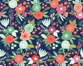 KNIT Riley Blake On Trend Floral Navy Knit (Half metre)