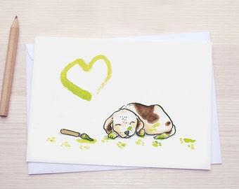 Puppy - Greeting Card - Greetingcard - Green Heart