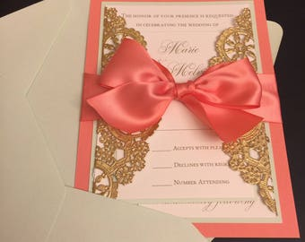 SAMPLE - Attached Metallic Doily Wedding Invitation with Ribbon Bow