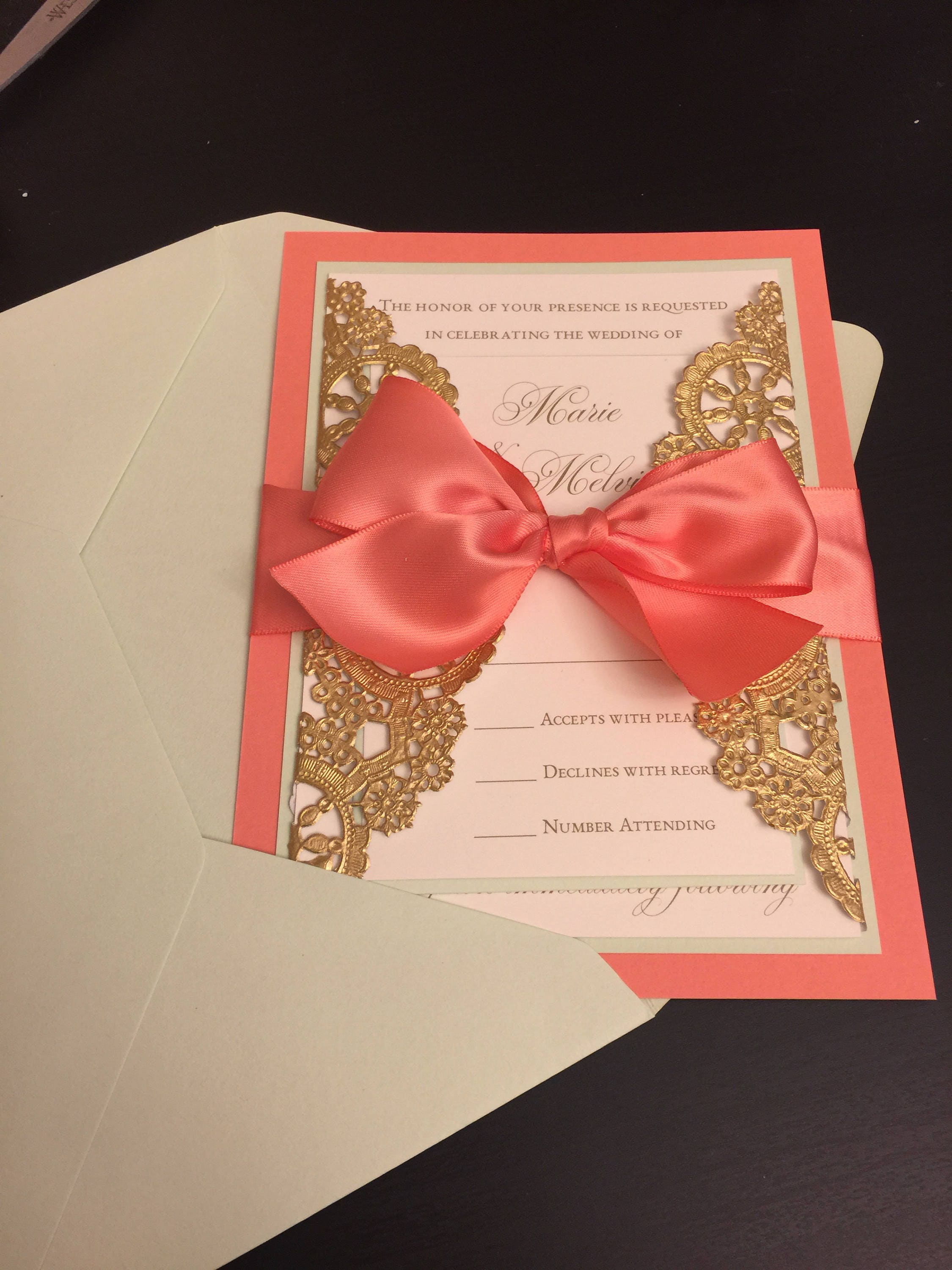 SAMPLE Attached Metallic Doily Wedding Invitation with
