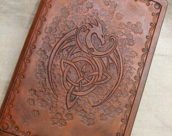 Hand Made Celtic Dragon Leather File/Binder cover - A6 filofax refillable