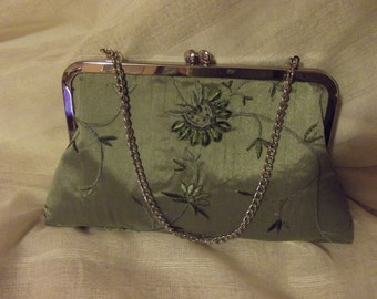 Unique one of a kind fabric combination  Clutch Purse