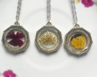 Sterling Silver Pressed Flower Necklace, Queen Annes Lace, and Yellow Pansy, preserved in resin jewelry, handmade and grown.