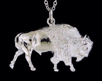 Sterling Silver American Bison Pendant or Necklace  (Optional Chain)