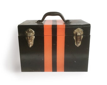 "Mid Century Steel Utility Box - Black with Orange Stripes - Metal Box, Steel Case, Toolbox, Saw Box ""Industrial Chic"""