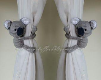 A pair of Light Gray Koala Bear Amigurumi,  Koala Bear Curtain Tiebacks  (Both sides)  MADE TO ORDER..