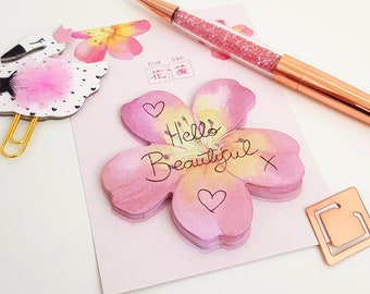 Pretty Pink and Yellow Blossom Flower Sticky Notes