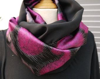 Dark SNOOD 100% silk - 2 sided - infinity - circle scarf - fuschia - single model