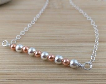 Mixed Metal Bar Necklace. Sterling Silver. Copper and Silver Modern Necklace. Minimalist Jewelry. Simple Beaded Layering Necklace.
