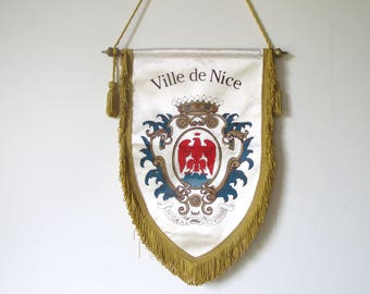 Vintage  NICE Riviera Flag Banner pennant collectible arms of coat blazon