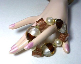 """Chunky Bracelet """"Brownie Scout"""" Candy Candy Lampwork Foil, Murano Glass Beads Gold Tone Accents STRETCH karinascottage"""