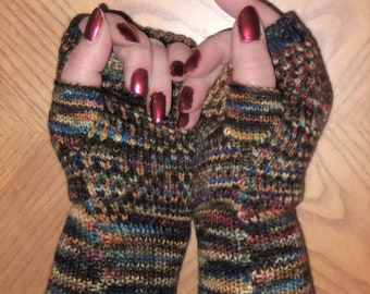 Hand painted knit fingerless gloves with merino wool and cashmere, wrist warmers