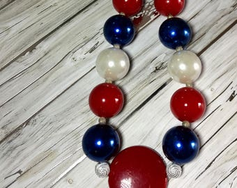 Beaded Acrylic/Resin Chunky Necklace,  Statement Necklace,  Chunky Bead Necklace /Red/White/Blue, Jewelry, Gift, Patriotic