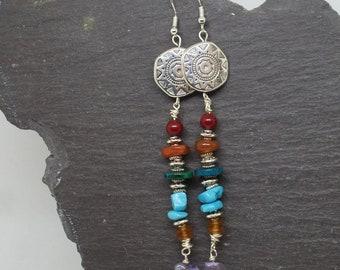 Long bohemian earrings, gypsy boho earrings, bohemian earrings, statement earrings, long earrings, bohemian jewelry, long dangle earrings.
