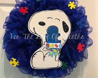 Snoopy autism awareness puzzle piece wreath