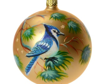 Bluejay Hand Painted Christmas Ball