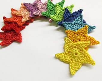 Crocheted stars, 3.5 cm appliques, colorful mix, 12 pc.