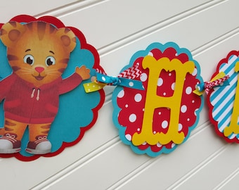 Daniel the Tiger Happy Birthday OR Name banner, Daniel the Tiger Party decorations.  ONE banner.  I'm One Banner. 1st Birthday banner